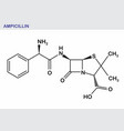 ampicillin structural formula vector image vector image