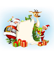 background with reindeer Santa Claus and his elves vector image