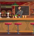 bartender working in pub flat vector image vector image
