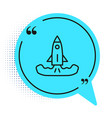 black line rocket icon isolated on white vector image vector image