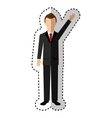 businessman avatar with hands up vector image vector image
