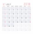 calendar july 2018 vector image
