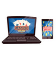 casino online computer and laptop with cards set vector image vector image