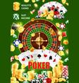 casino poker wheel fortune roulette jackpot vector image