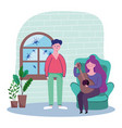 couple with guitar in living room quarantine stay vector image