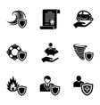 disaster protection icons set simple style vector image vector image