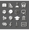 Education school icons with shadow on gray vector image
