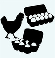 Eggs in a carton package and chicken vector image vector image