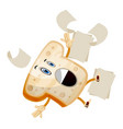 Falling bread on white background