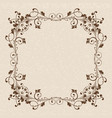 floral ornament brown vintage frame on beige vector image