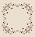floral ornament brown vintage frame on beige vector image vector image