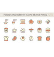 food and drink and coffee icon set design 48x48 vector image