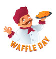 funny mustachioed cook chef in chefs hat vector image vector image