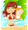 Girl in red swimsuit with cream for sunburn vector image vector image