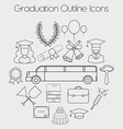 Graduation Celebrating Education Icon Set vector image vector image