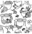 graphic pattern honey and floral decorations vector image vector image