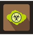 Green cloud with biohazard symbol icon flat style vector image vector image