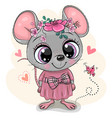 greeting card cartoon mouse with flowers vector image vector image