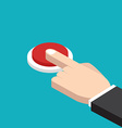 Hand pressing red button vector image vector image