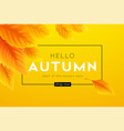 hello autumn sale background with realistic yellow vector image vector image
