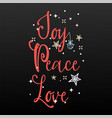 joy peace love holiday banner - new year slogan vector image vector image