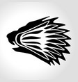 lion head silhouette with shuttlecock badminton vector image