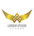 Luxury shiny wing letter ww concept design symbol