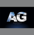metal blue alphabet letter ag a g logo company vector image vector image