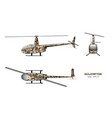 military helicopter in realistic style vector image vector image