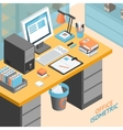 Office Room Isometric Design Concept vector image vector image