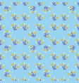 pattern of flowers on a blue background vector image vector image