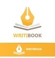 pen and book logo concept vector image vector image