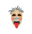 scary mask with horns black eyes and tongue out vector image vector image