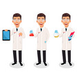 scientist man handsome cartoon character vector image vector image