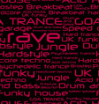 seamless background - rave music genres vector image