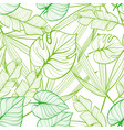 seamless floral pattern with tropical leaves line vector image