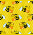 seamless pattern with honey bees vector image
