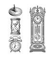 set old clocks sundial hourglass alarm clock vector image vector image
