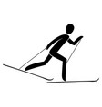 silhouette skiathlon athlete race skiing running vector image vector image