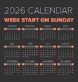 simple 2026 year calendar vector image