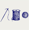 Spool with threads and sewing button vector image vector image