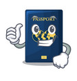 thumbs up blue passport above character wooden vector image