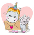 valentine card with cute cartoon unicorn vector image vector image