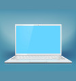 white laptop on a blue background vector image vector image