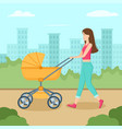 young mother walking with baby carriage in park vector image