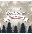 merry christmas card banner and pine snowflakes vector image