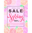 spring sale banner with rose flowers on rose vector image
