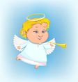 beautiful angel with a pipe vector image vector image