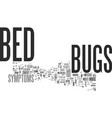 bed bugs symptoms text word cloud concept vector image vector image