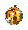 Beer Pint Glass Hand Tap Retro vector image vector image